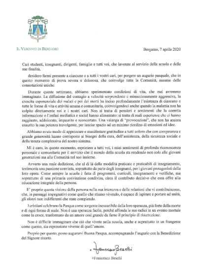 Messaggio per il mondo della Scuola SEVescovo di Bergamo