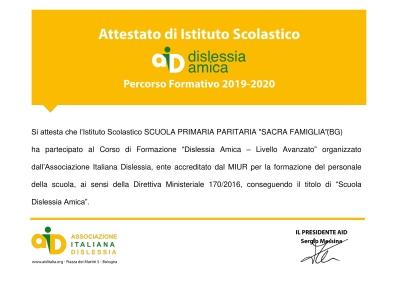Certificazione SCUOLA DISLESSIA AMICA-1