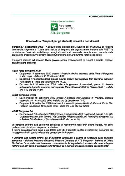 CS ATS BG 2020-07-15 tamponi studenti