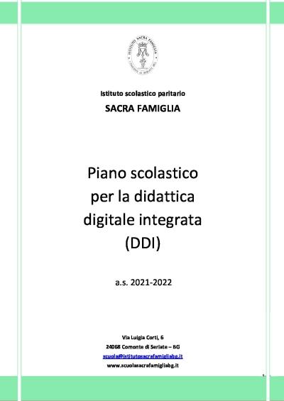 Piano scolastico per la didattica digitale integrata DDI _Sacra Famiglia a.s. 2021-2022