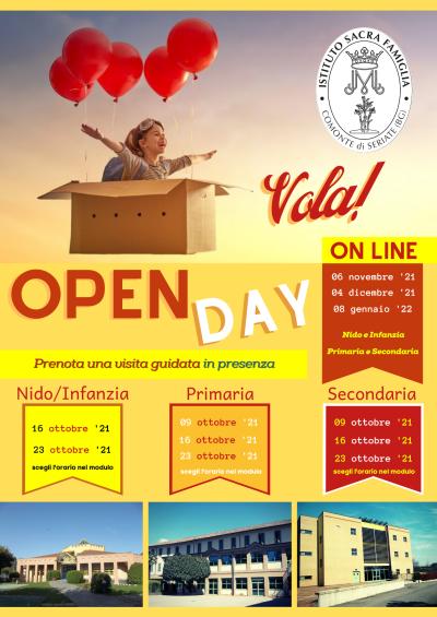 Open day on line e visita alla Scuola in presenza – Infanzia, Primaria e Secondaria